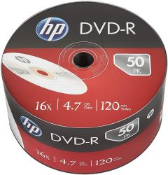 HP DVD+R IJ PRINT 16X 50PK BULK HP 4.7GB HP HPDRE00070WIP3, DVD-R IJ Print 16x Recordable Disks, 50 Pack