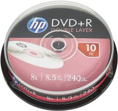 HP HPDRE00060WIP3, DVD+R DL 8X 8.5GB Recordable Disk, 10 Pack