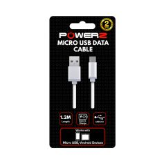 Powerz 840562 USB Data Cable for Micro USB, 1.2M, White