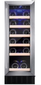 Amica AWC300SS, 30cm Freestanding/ Under Counter Slimline Wine Cooler, Stainless Steel