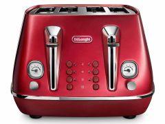 DeLonghi CTOC4003R, Icona Capitals 4 Slice Toaster, Red