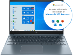 "HP Pavilion 15-eh0045na, 15.6"", 4GB/128GB SSD, Touchscreen Laptop, Blue"