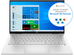 """HP Pavilion x360 14-dy0002na , 14"""", 4GB/128GB SSD, x360 2-in-1 Convertible Touchscreen Laptop w/ Microsoft Office, Silver"""