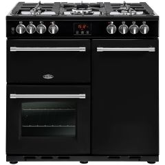 Belling FH90DFTBK 90cm Cook Centre Dual Fuel Black Range Cooker