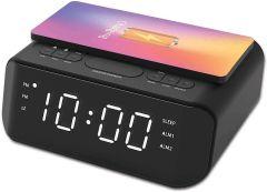 Groov-e GVWC06BK, Atlas Alarm Clock Radio w/ USB & Wireless Charging