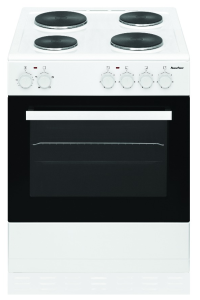 Powerpoint P06E1S1W, 60cm, Single Cavity, White, Solid Hob, Electric Cooker