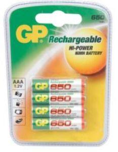 GP 656158, Ekopower Nimh Rechargeable Batteries, AAA, 650MH, 4 Pack