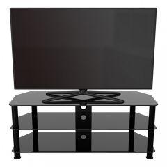 AVF SDC1250CMBB,  125CM Black Glass, TV Stand