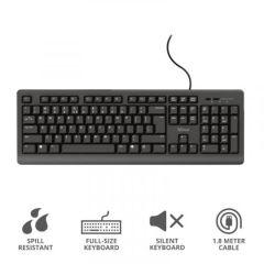 Trust T23893, Durable Classic Keyboard w/ Spill Resistance, Black