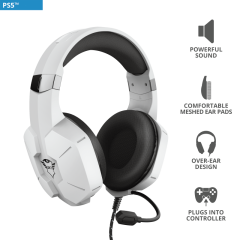 Trust T24258, GXT323W Carus Gaming Headset, White