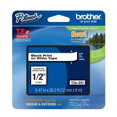 Brother TZE231, 12mm, Black/ White, Label Tape (SBRO0049)
