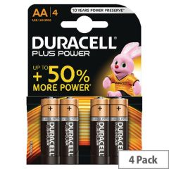 Duracell MN1500B4, Plus AA, 1.5V Battery - Pack of 4