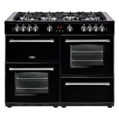 Belling 110DFTBLK,  110cm Cookcenter Dual Fuel Range Cooker, Natural Gas, Black