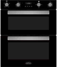 Belling BI703FPBLK, 60cm, 54/38L, Built Under Double Oven, Black