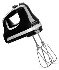 KitchenAid 5KHM5110BWH, 2 Beaters, Wire Whisk, Classic 5 Speed Hand Mixer, Onyx Black