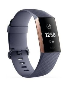 Fitbit 79FB409RGGY, Charge 3, Standard Edition, Rose Gold/Blue Grey