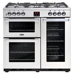 Belling 90DFTPROFSTA 90cm Cook Centre Dual Fuel Silver Range Cooker