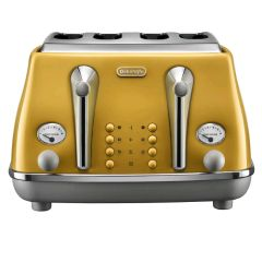 DeLonghi CTOC4003Y, Icona Capitals 4 Slice Toaster, Yellow
