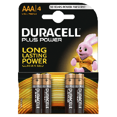Duracell MN2400B4, Plus AAA Batteries - Pack of 4