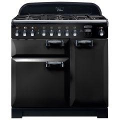 Rangemaster ELAS90DFFBL, Elan, 90cm, Dual Fuel, Range Cooker, Black