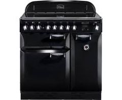 Rangemaster Elan, ELAS90ECBL, 90cm, All Electric, Ceramic Hob, Range Cooker, Black