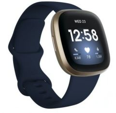 Fitbit 79FB511GLNV, Versa 3, Health & Fitness Tracker w/ Heart Rate Monitor & GPS, Midnight Blue