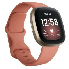 Fitbit 79FB511GLPK, Versa 3, Health & Fitness Tracker w/ Heart Rate Monitor & GPS, Pink Clay