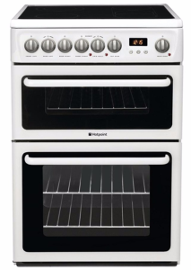 Hotpoint HAE60PS, CREDA, 60cm, Double Oven, Freestanding Electric Cooker, White