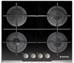 Hoover HGV64STCVB 60cm Vogue Gas on Glass Hob, Black Glass