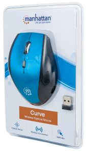Manhattan 179294, Curve Wireless Mouse, Black/Blue