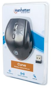 Manhattan 179386, Curve Wireless Mouse, Black