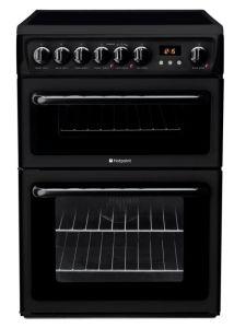 Hotpoint HAE60KS, CREDA, 60cm, Double Oven, Freestanding Electric Cooker, Black