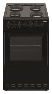 Powerpoint P06E1S1BL, 60cm, Single Cavity, Solid Hob Cooker, Black