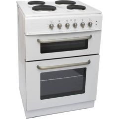 Powerpoint P06E2S1W, Double Oven, Solid Hob, Cooker, White
