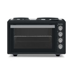 Powerpoint P22MSHPB, Table Top Oven with Two Ring Hot Plate, Black