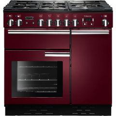 Rangemaster Professional, PROP90DFFCY/C,  90cm, Dual Fuel, Range Cooker, Cranberry
