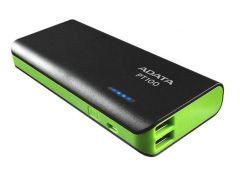 Adata APT10010000M5VCBKGR, 10,000MH Dual Charge 1A/2.1A Power Bank, Black/Green
