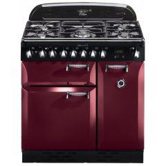Elan ELA90DFFCY, 90 Dual Fuel, Natural Gas Range Cooker, Cranberry
