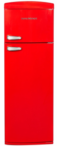 Nordmende RET347RA, 175 x 60.5cm, Retro, Freestanding, Fridge Freezer, Red