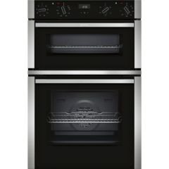 Neff U1ACE2HN0B Built-In Double Oven - Black/Steel Trim