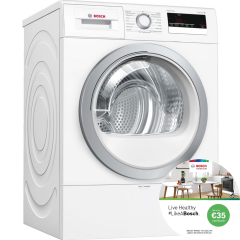 Bosch WTR85V21GB, 8KG  A+ Condenser Dryer with Heat Pump, White