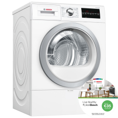 Bosch WTR88T81GB, 8KG, Heat Pump Tumble Dryer, White