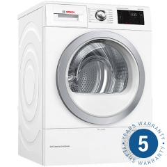 Bosch WTWH7660GB, 9kg, A++, WiFi Connected Condenser Tumble Dryer, White