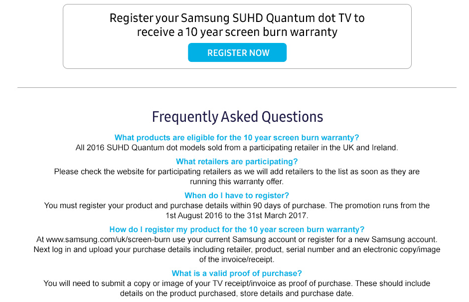 Samsung Screen Burn Warranty